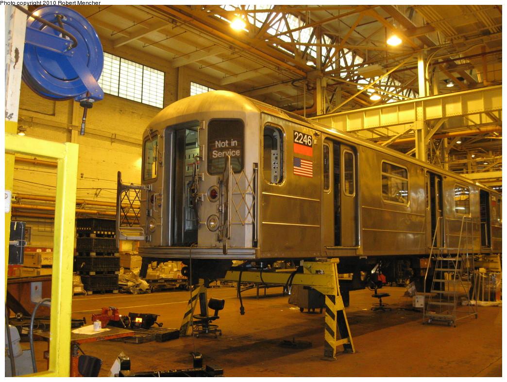 (304k, 1044x788)<br><b>Country:</b> United States<br><b>City:</b> New York<br><b>System:</b> New York City Transit<br><b>Location:</b> Coney Island Shop/Overhaul & Repair Shop<br><b>Car:</b> R-62A (Bombardier, 1984-1987)  2246 <br><b>Photo by:</b> Robert Mencher<br><b>Date:</b> 2/16/2010<br><b>Viewed (this week/total):</b> 0 / 584