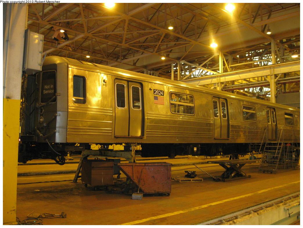 (271k, 1044x788)<br><b>Country:</b> United States<br><b>City:</b> New York<br><b>System:</b> New York City Transit<br><b>Location:</b> Coney Island Shop/Overhaul & Repair Shop<br><b>Car:</b> R-68 (Westinghouse-Amrail, 1986-1988)  2624 <br><b>Photo by:</b> Robert Mencher<br><b>Date:</b> 2/16/2010<br><b>Viewed (this week/total):</b> 0 / 674