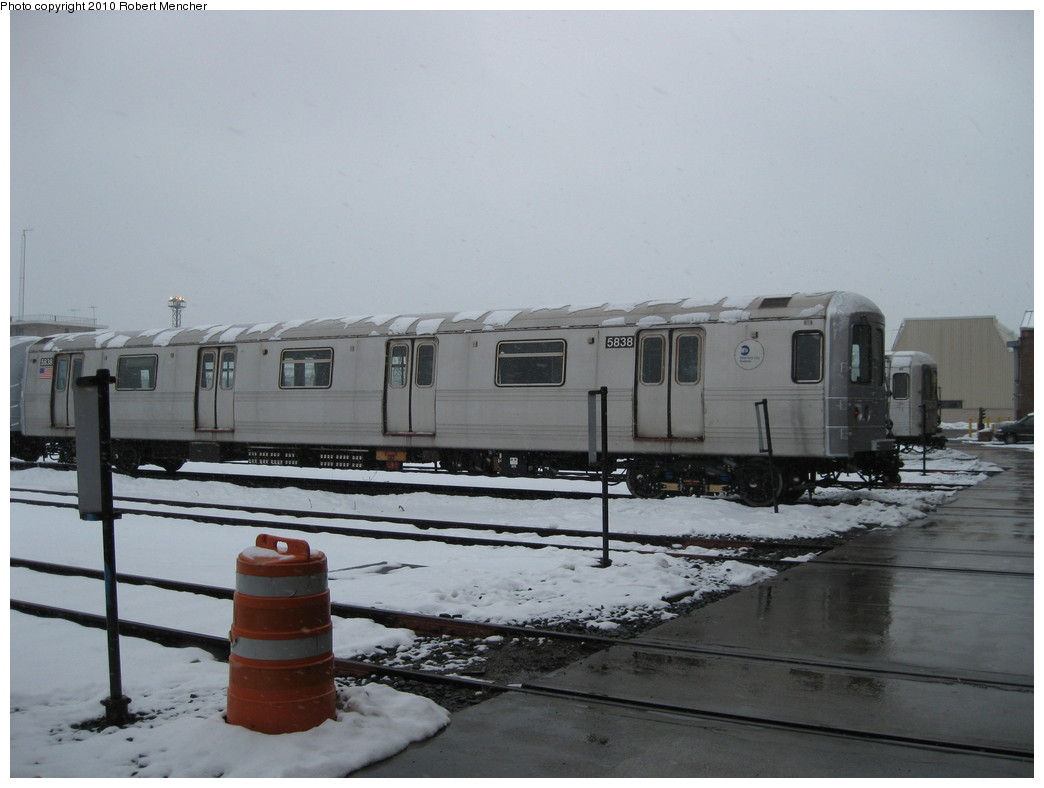 (161k, 1044x788)<br><b>Country:</b> United States<br><b>City:</b> New York<br><b>System:</b> New York City Transit<br><b>Location:</b> Coney Island Yard<br><b>Car:</b> R-46 (Pullman-Standard, 1974-75) 5838 <br><b>Photo by:</b> Robert Mencher<br><b>Date:</b> 2/16/2010<br><b>Viewed (this week/total):</b> 0 / 680