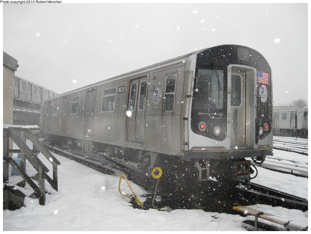 (210k, 1044x788)<br><b>Country:</b> United States<br><b>City:</b> New York<br><b>System:</b> New York City Transit<br><b>Location:</b> East New York Yard/Shops<br><b>Car:</b> R-160A-1 (Alstom, 2005-2008, 4 car sets)  8520 <br><b>Photo by:</b> Robert Mencher<br><b>Date:</b> 2/16/2010<br><b>Viewed (this week/total):</b> 0 / 816