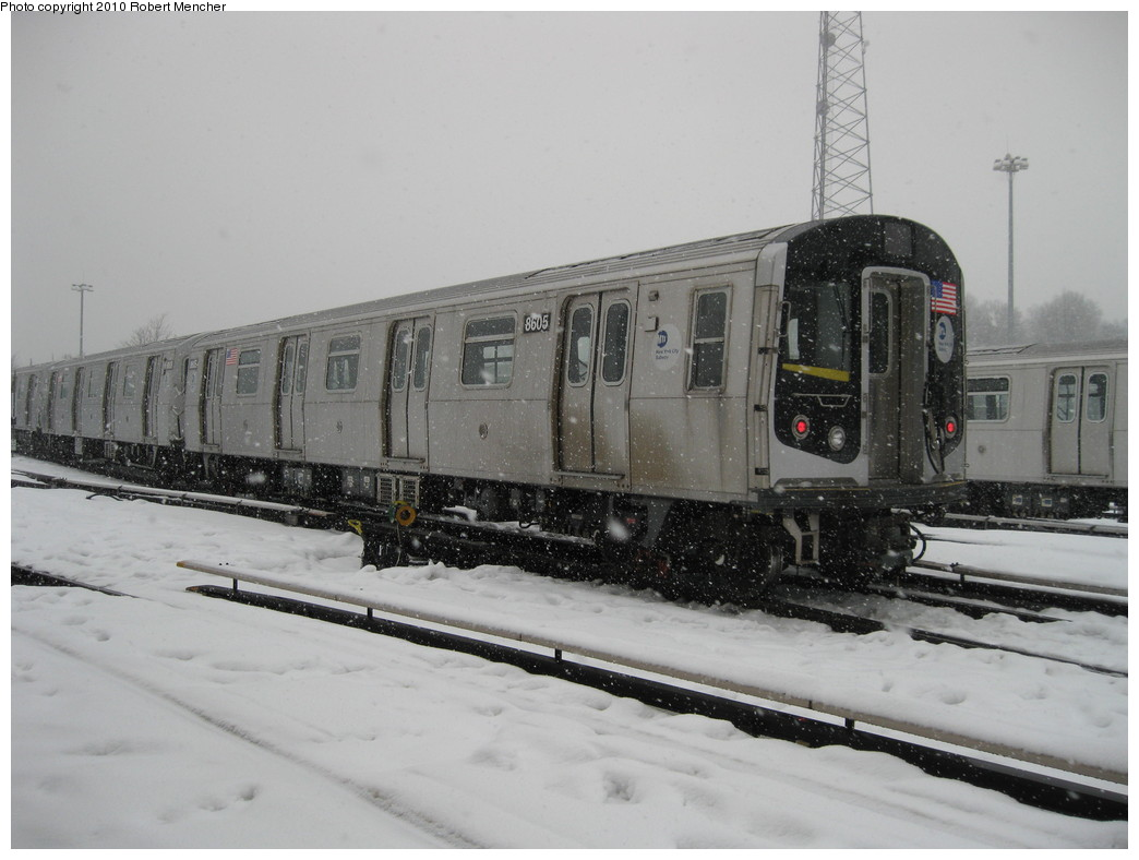 (173k, 1044x788)<br><b>Country:</b> United States<br><b>City:</b> New York<br><b>System:</b> New York City Transit<br><b>Location:</b> East New York Yard/Shops<br><b>Car:</b> R-160A-1 (Alstom, 2005-2008, 4 car sets)  8605 <br><b>Photo by:</b> Robert Mencher<br><b>Date:</b> 2/16/2010<br><b>Viewed (this week/total):</b> 0 / 684
