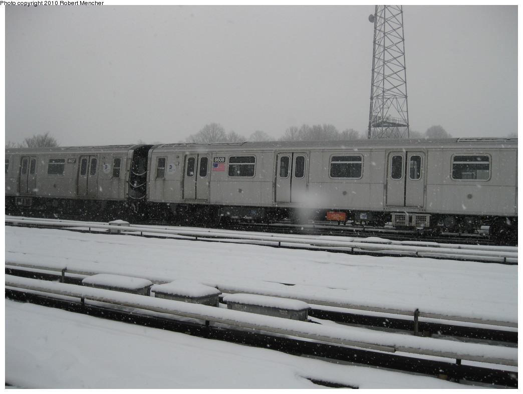 (162k, 1044x788)<br><b>Country:</b> United States<br><b>City:</b> New York<br><b>System:</b> New York City Transit<br><b>Location:</b> East New York Yard/Shops<br><b>Car:</b> R-160A-1 (Alstom, 2005-2008, 4 car sets)  8608 <br><b>Photo by:</b> Robert Mencher<br><b>Date:</b> 2/16/2010<br><b>Viewed (this week/total):</b> 2 / 626