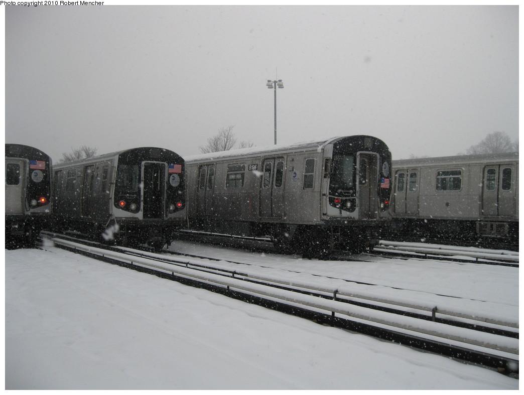 (162k, 1044x788)<br><b>Country:</b> United States<br><b>City:</b> New York<br><b>System:</b> New York City Transit<br><b>Location:</b> East New York Yard/Shops<br><b>Car:</b> R-143 (Kawasaki, 2001-2002) 8196 <br><b>Photo by:</b> Robert Mencher<br><b>Date:</b> 2/16/2010<br><b>Viewed (this week/total):</b> 1 / 637