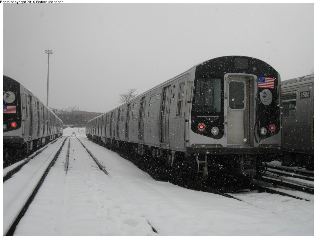 (167k, 1044x788)<br><b>Country:</b> United States<br><b>City:</b> New York<br><b>System:</b> New York City Transit<br><b>Location:</b> East New York Yard/Shops<br><b>Car:</b> R-160A-1 (Alstom, 2005-2008, 4 car sets)  8320 <br><b>Photo by:</b> Robert Mencher<br><b>Date:</b> 2/16/2010<br><b>Viewed (this week/total):</b> 1 / 785