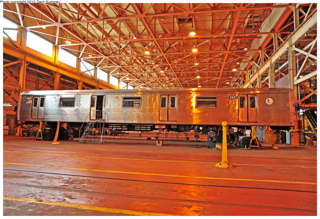 (399k, 1044x714)<br><b>Country:</b> United States<br><b>City:</b> New York<br><b>System:</b> New York City Transit<br><b>Location:</b> Coney Island Shop/Overhaul & Repair Shop<br><b>Car:</b> R-46 (Pullman-Standard, 1974-75) 5957 <br><b>Photo by:</b> Zach Summer<br><b>Date:</b> 1/10/2010<br><b>Viewed (this week/total):</b> 1 / 937