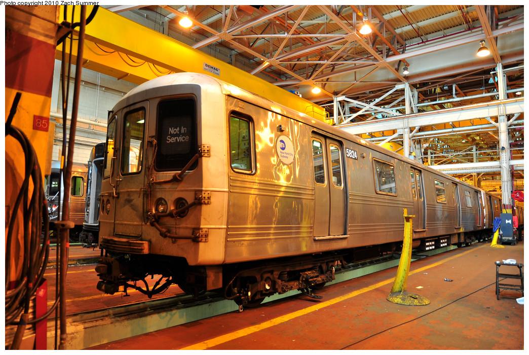 (363k, 1044x700)<br><b>Country:</b> United States<br><b>City:</b> New York<br><b>System:</b> New York City Transit<br><b>Location:</b> Coney Island Shop/Overhaul & Repair Shop<br><b>Car:</b> R-46 (Pullman-Standard, 1974-75) 5824 <br><b>Photo by:</b> Zach Summer<br><b>Date:</b> 1/10/2010<br><b>Viewed (this week/total):</b> 0 / 648