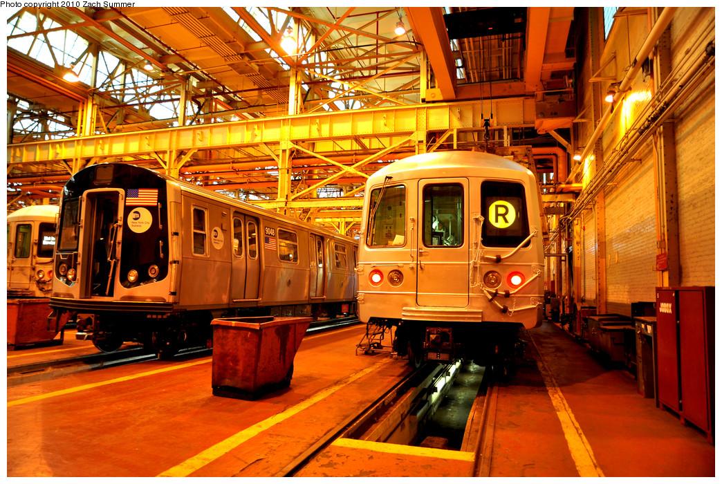 (406k, 1044x700)<br><b>Country:</b> United States<br><b>City:</b> New York<br><b>System:</b> New York City Transit<br><b>Location:</b> Coney Island Shop/Overhaul & Repair Shop<br><b>Car:</b> R-160B (Kawasaki, 2005-2008)  9048 <br><b>Photo by:</b> Zach Summer<br><b>Date:</b> 1/10/2010<br><b>Notes:</b> W/ R46 5730<br><b>Viewed (this week/total):</b> 3 / 983
