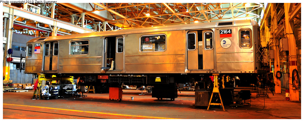 (261k, 1044x421)<br><b>Country:</b> United States<br><b>City:</b> New York<br><b>System:</b> New York City Transit<br><b>Location:</b> Coney Island Shop/Overhaul & Repair Shop<br><b>Car:</b> R-62A (Bombardier, 1984-1987)  2164 <br><b>Photo by:</b> Zach Summer<br><b>Date:</b> 1/10/2010<br><b>Viewed (this week/total):</b> 2 / 1093