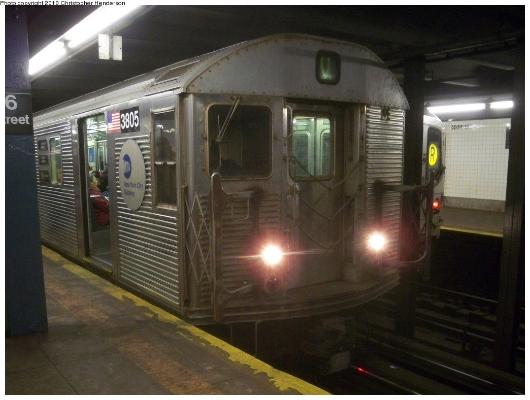 (171k, 1044x788)<br><b>Country:</b> United States<br><b>City:</b> New York<br><b>System:</b> New York City Transit<br><b>Line:</b> IND Queens Boulevard Line<br><b>Location:</b> 46th Street <br><b>Route:</b> V<br><b>Car:</b> R-32 (Budd, 1964)  3805 <br><b>Photo by:</b> Christopher Henderson<br><b>Date:</b> 2/17/2010<br><b>Viewed (this week/total):</b> 0 / 1573