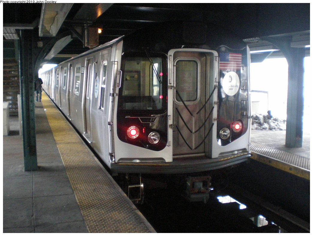 (230k, 1044x788)<br><b>Country:</b> United States<br><b>City:</b> New York<br><b>System:</b> New York City Transit<br><b>Line:</b> BMT Nassau Street/Jamaica Line<br><b>Location:</b> Broadway/East New York (Broadway Junction) <br><b>Route:</b> J<br><b>Car:</b> R-160A-1 (Alstom, 2005-2008, 4 car sets)  8509 <br><b>Photo by:</b> John Dooley<br><b>Date:</b> 2/19/2010<br><b>Viewed (this week/total):</b> 0 / 1266