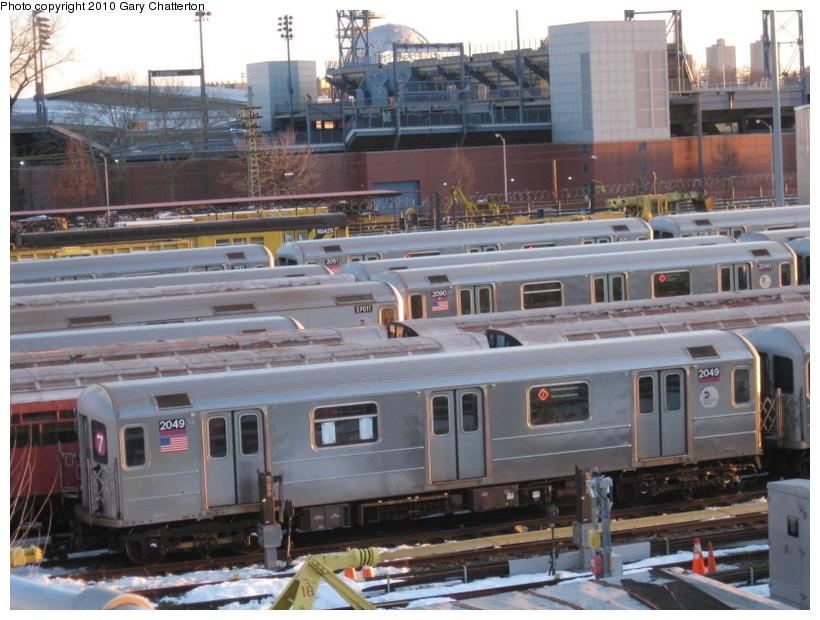 (155k, 820x620)<br><b>Country:</b> United States<br><b>City:</b> New York<br><b>System:</b> New York City Transit<br><b>Location:</b> Corona Yard<br><b>Car:</b> R-62A (Bombardier, 1984-1987)  2049 <br><b>Photo by:</b> Gary Chatterton<br><b>Date:</b> 2/19/2010<br><b>Viewed (this week/total):</b> 1 / 1173