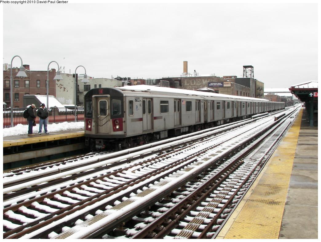 (295k, 1044x788)<br><b>Country:</b> United States<br><b>City:</b> New York<br><b>System:</b> New York City Transit<br><b>Line:</b> IRT Woodlawn Line<br><b>Location:</b> Fordham Road <br><b>Route:</b> 4<br><b>Car:</b> R-142 (Option Order, Bombardier, 2002-2003)  7150 <br><b>Photo by:</b> David-Paul Gerber<br><b>Date:</b> 2/27/2010<br><b>Notes:</b> Note the Loews theater (Loews Fordham?). Loews had the Fordham and the famous Paradise theater within 4 blocks apart.<br><b>Viewed (this week/total):</b> 0 / 1427