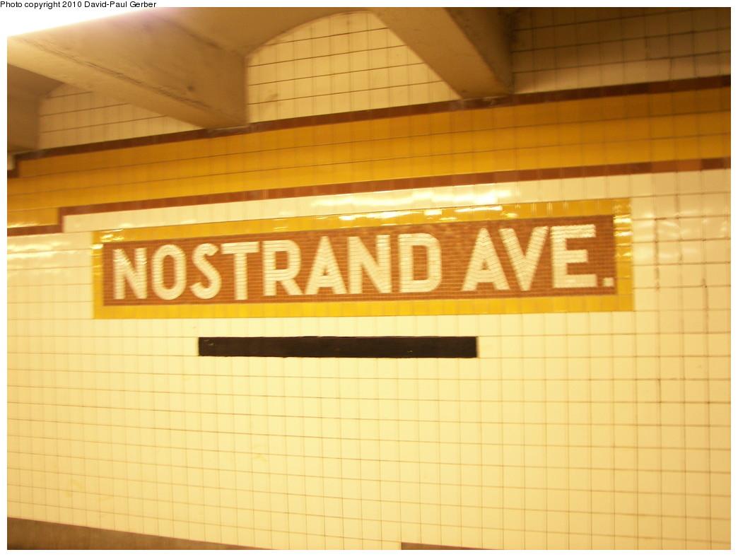 (210k, 1044x788)<br><b>Country:</b> United States<br><b>City:</b> New York<br><b>System:</b> New York City Transit<br><b>Line:</b> IND Fulton Street Line<br><b>Location:</b> Nostrand Avenue <br><b>Photo by:</b> David-Paul Gerber<br><b>Date:</b> 2/28/2010<br><b>Viewed (this week/total):</b> 1 / 757