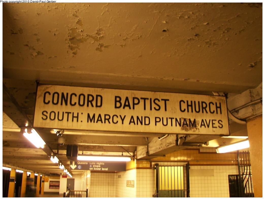 (248k, 1044x788)<br><b>Country:</b> United States<br><b>City:</b> New York<br><b>System:</b> New York City Transit<br><b>Line:</b> IND Fulton Street Line<br><b>Location:</b> Nostrand Avenue <br><b>Photo by:</b> David-Paul Gerber<br><b>Date:</b> 2/28/2010<br><b>Notes:</b> Sign for Concord Baptist Church<br><b>Viewed (this week/total):</b> 0 / 923