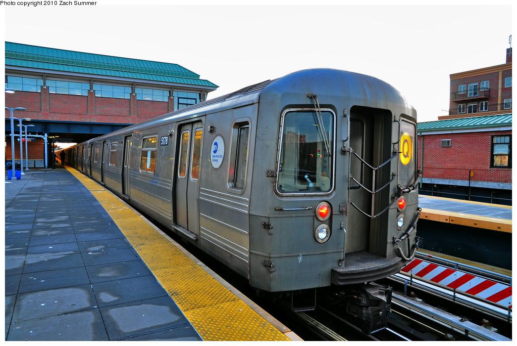 (286k, 1044x700)<br><b>Country:</b> United States<br><b>City:</b> New York<br><b>System:</b> New York City Transit<br><b>Location:</b> Coney Island/Stillwell Avenue<br><b>Route:</b> Q<br><b>Car:</b> R-68A (Kawasaki, 1988-1989) 5178 <br><b>Photo by:</b> Zach Summer<br><b>Date:</b> 1/13/2010<br><b>Viewed (this week/total):</b> 0 / 1455