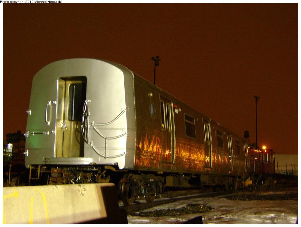 (190k, 1044x788)<br><b>Country:</b> United States<br><b>City:</b> New York<br><b>System:</b> New York City Transit<br><b>Line:</b> South Brooklyn Railway<br><b>Location:</b> SBK Yard (2nd Ave at 38th St.) (SBK)<br><b>Car:</b> R-44 SIRT (St. Louis, 1971-1973) 403 <br><b>Photo by:</b> Michael Hodurski<br><b>Date:</b> 3/3/2010<br><b>Notes:</b> Waiting to be loaded onto truck to head back to SIRT Clifton Shops<br><b>Viewed (this week/total):</b> 0 / 1186