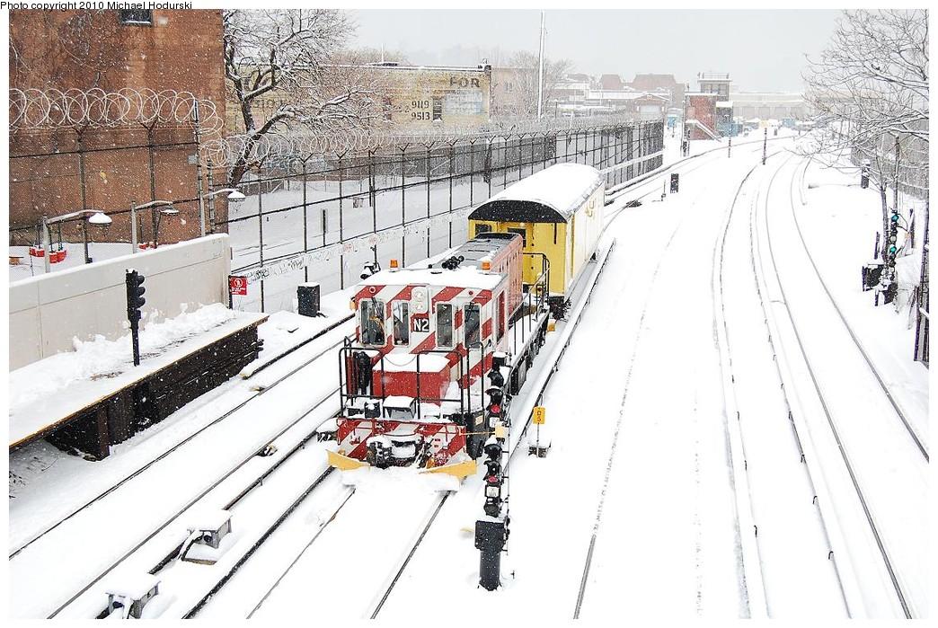 (275k, 1044x699)<br><b>Country:</b> United States<br><b>City:</b> New York<br><b>System:</b> New York City Transit<br><b>Line:</b> BMT Sea Beach Line<br><b>Location:</b> 86th Street <br><b>Route:</b> Work Service<br><b>Car:</b> R-47 (SBK) Locomotive  N2 <br><b>Photo by:</b> Michael Hodurski<br><b>Date:</b> 2/26/2010<br><b>Notes:</b> With RD342 De-Icer<br><b>Viewed (this week/total):</b> 0 / 1432