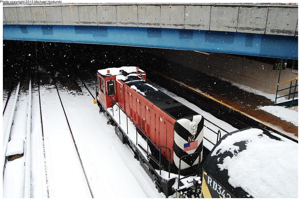 (283k, 1044x699)<br><b>Country:</b> United States<br><b>City:</b> New York<br><b>System:</b> New York City Transit<br><b>Line:</b> BMT Sea Beach Line<br><b>Location:</b> 86th Street <br><b>Route:</b> Work Service<br><b>Car:</b> R-47 (SBK) Locomotive  N2 <br><b>Photo by:</b> Michael Hodurski<br><b>Date:</b> 2/26/2010<br><b>Notes:</b> With RD342 De-Icer<br><b>Viewed (this week/total):</b> 0 / 1035