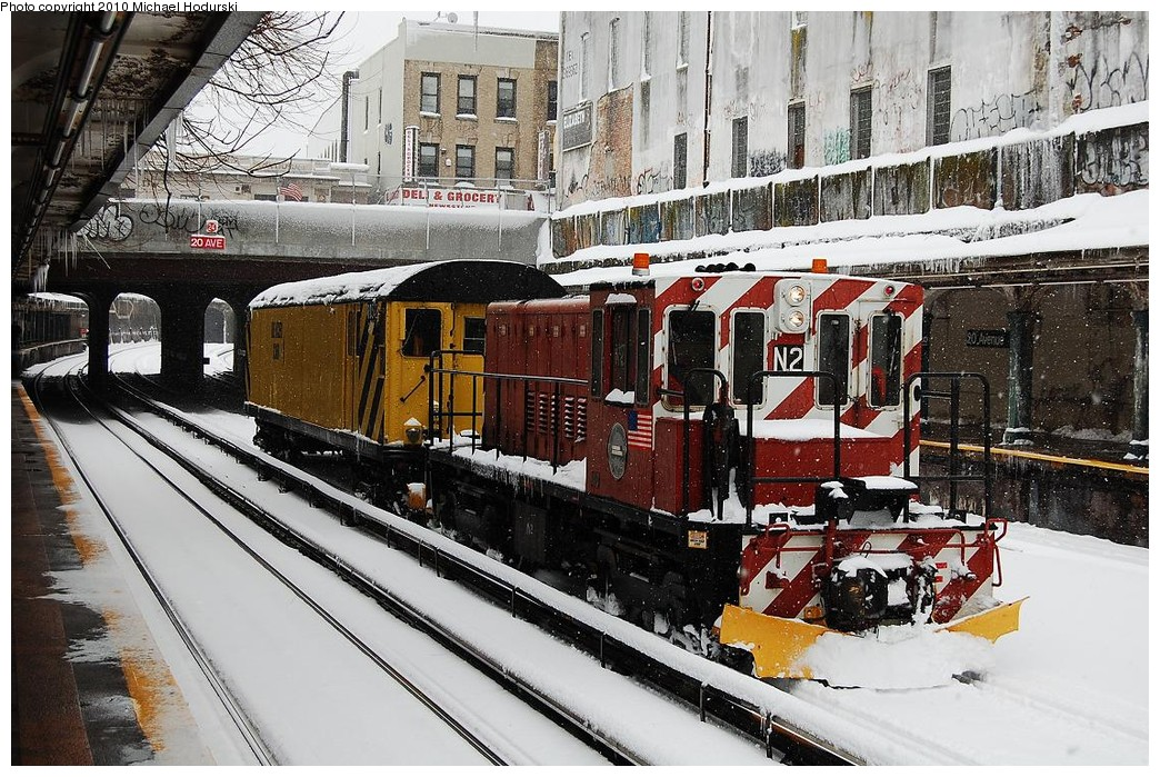 (318k, 1044x699)<br><b>Country:</b> United States<br><b>City:</b> New York<br><b>System:</b> New York City Transit<br><b>Line:</b> BMT Sea Beach Line<br><b>Location:</b> 20th Avenue <br><b>Route:</b> Work Service<br><b>Car:</b> R-47 (SBK) Locomotive  N2 <br><b>Photo by:</b> Michael Hodurski<br><b>Date:</b> 2/26/2010<br><b>Notes:</b> De-icer train.<br><b>Viewed (this week/total):</b> 0 / 1157