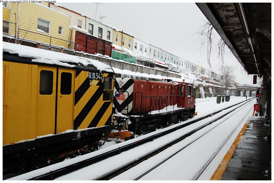 (307k, 1044x699)<br><b>Country:</b> United States<br><b>City:</b> New York<br><b>System:</b> New York City Transit<br><b>Line:</b> BMT Sea Beach Line<br><b>Location:</b> 20th Avenue <br><b>Route:</b> Work Service<br><b>Car:</b> R-47 (SBK) Locomotive  N2 <br><b>Photo by:</b> Michael Hodurski<br><b>Date:</b> 2/26/2010<br><b>Notes:</b> De-icer train.<br><b>Viewed (this week/total):</b> 0 / 802