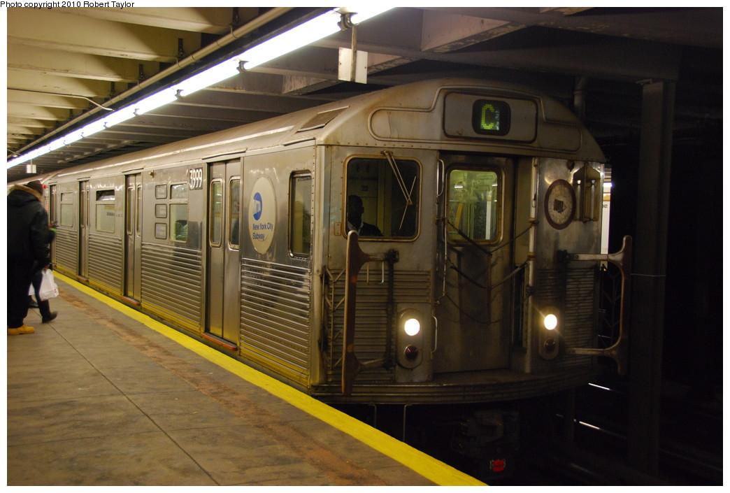 (242k, 1044x705)<br><b>Country:</b> United States<br><b>City:</b> New York<br><b>System:</b> New York City Transit<br><b>Line:</b> IND Fulton Street Line<br><b>Location:</b> Kingston/Throop Aves. <br><b>Route:</b> C<br><b>Car:</b> R-38 (St. Louis, 1966-1967)  3999 <br><b>Photo by:</b> Robert Taylor<br><b>Date:</b> 12/7/2008<br><b>Viewed (this week/total):</b> 0 / 1451
