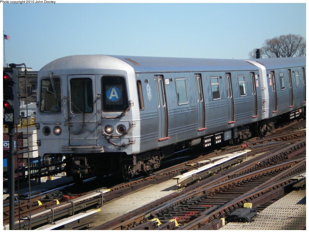 (254k, 1044x788)<br><b>Country:</b> United States<br><b>City:</b> New York<br><b>System:</b> New York City Transit<br><b>Line:</b> IND Fulton Street Line<br><b>Location:</b> Rockaway Boulevard <br><b>Route:</b> A<br><b>Car:</b> R-46 (Pullman-Standard, 1974-75) 6138 <br><b>Photo by:</b> John Dooley<br><b>Date:</b> 3/6/2010<br><b>Viewed (this week/total):</b> 1 / 914