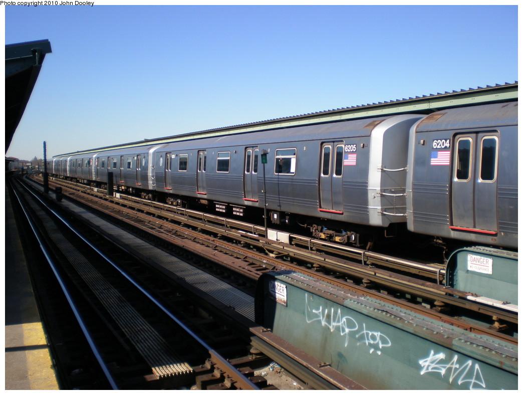 (217k, 1044x788)<br><b>Country:</b> United States<br><b>City:</b> New York<br><b>System:</b> New York City Transit<br><b>Line:</b> IND Fulton Street Line<br><b>Location:</b> Rockaway Boulevard <br><b>Route:</b> A<br><b>Car:</b> R-46 (Pullman-Standard, 1974-75) 6205 <br><b>Photo by:</b> John Dooley<br><b>Date:</b> 3/6/2010<br><b>Viewed (this week/total):</b> 0 / 794