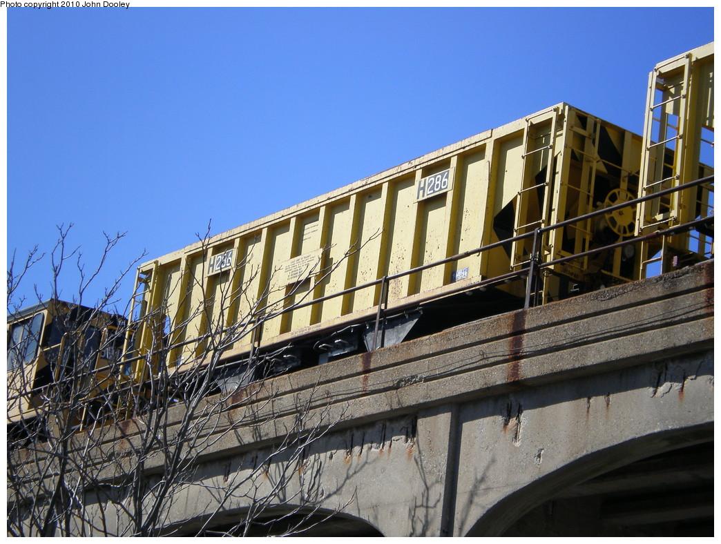(278k, 1044x788)<br><b>Country:</b> United States<br><b>City:</b> New York<br><b>System:</b> New York City Transit<br><b>Line:</b> IND Rockaway<br><b>Location:</b> Beach 90th Street/Holland <br><b>Route:</b> Work Service<br><b>Car:</b> R-80 MoW Hopper (1983, Maxon)  286 <br><b>Photo by:</b> John Dooley<br><b>Date:</b> 3/6/2010<br><b>Viewed (this week/total):</b> 3 / 864