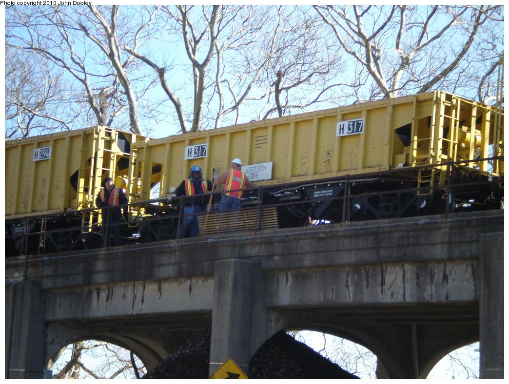 (298k, 1044x788)<br><b>Country:</b> United States<br><b>City:</b> New York<br><b>System:</b> New York City Transit<br><b>Line:</b> IND Rockaway<br><b>Location:</b> Beach 90th Street/Holland <br><b>Route:</b> Work Service<br><b>Car:</b> R-116 MoW Hopper  317 <br><b>Photo by:</b> John Dooley<br><b>Date:</b> 3/6/2010<br><b>Viewed (this week/total):</b> 1 / 743