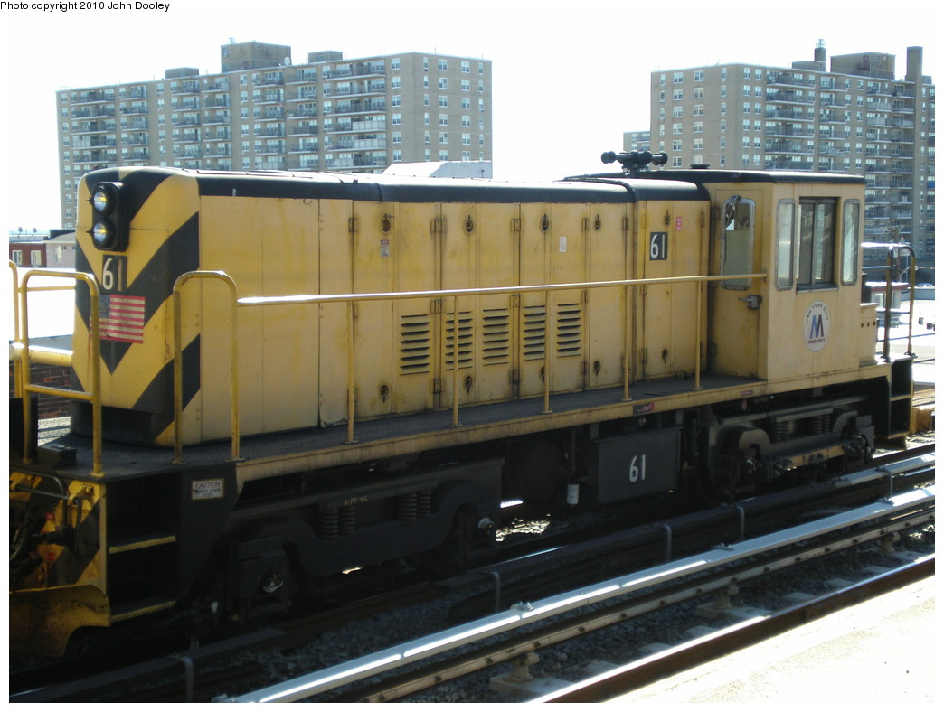 (208k, 1044x788)<br><b>Country:</b> United States<br><b>City:</b> New York<br><b>System:</b> New York City Transit<br><b>Line:</b> IND Rockaway<br><b>Location:</b> Beach 98th Street/Playland <br><b>Route:</b> Work Service<br><b>Car:</b> R-43 Locomotive  61 <br><b>Photo by:</b> John Dooley<br><b>Date:</b> 3/6/2010<br><b>Viewed (this week/total):</b> 1 / 645