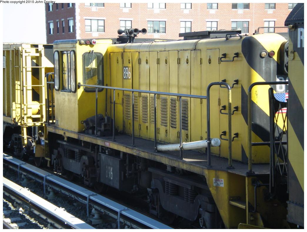 (255k, 1044x788)<br><b>Country:</b> United States<br><b>City:</b> New York<br><b>System:</b> New York City Transit<br><b>Line:</b> IND Rockaway<br><b>Location:</b> Beach 98th Street/Playland <br><b>Route:</b> Work Service<br><b>Car:</b> R-77 Locomotive  896 <br><b>Photo by:</b> John Dooley<br><b>Date:</b> 3/6/2010<br><b>Viewed (this week/total):</b> 1 / 620