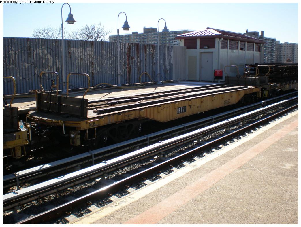 (277k, 1044x788)<br><b>Country:</b> United States<br><b>City:</b> New York<br><b>System:</b> New York City Transit<br><b>Line:</b> IND Rockaway<br><b>Location:</b> Beach 98th Street/Playland <br><b>Route:</b> Work Service<br><b>Car:</b> Flat Car 171 <br><b>Photo by:</b> John Dooley<br><b>Date:</b> 3/6/2010<br><b>Viewed (this week/total):</b> 1 / 794