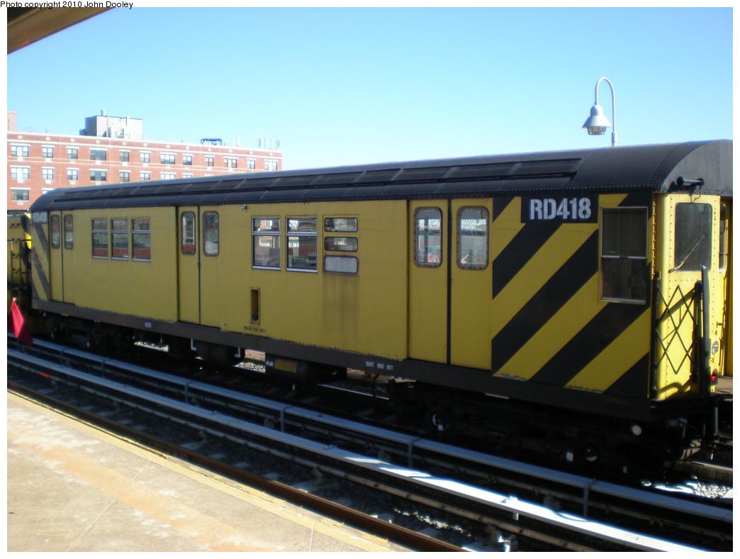 (195k, 1044x788)<br><b>Country:</b> United States<br><b>City:</b> New York<br><b>System:</b> New York City Transit<br><b>Line:</b> IND Rockaway<br><b>Location:</b> Beach 98th Street/Playland <br><b>Route:</b> Work Service<br><b>Car:</b> R-161 Rider Car (ex-R-33)  RD418 <br><b>Photo by:</b> John Dooley<br><b>Date:</b> 3/6/2010<br><b>Viewed (this week/total):</b> 0 / 668