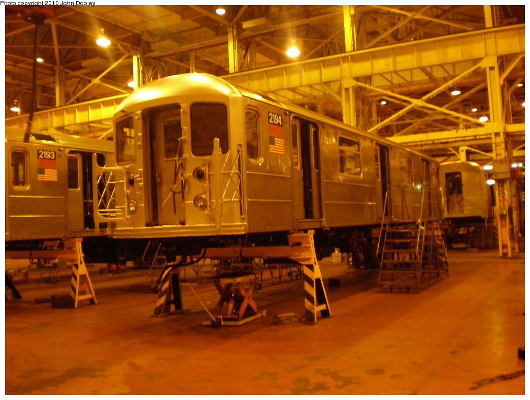 (248k, 1044x788)<br><b>Country:</b> United States<br><b>City:</b> New York<br><b>System:</b> New York City Transit<br><b>Location:</b> Coney Island Shop/Overhaul & Repair Shop<br><b>Car:</b> R-62A (Bombardier, 1984-1987)  2194 <br><b>Photo by:</b> John Dooley<br><b>Date:</b> 3/14/2010<br><b>Viewed (this week/total):</b> 0 / 556