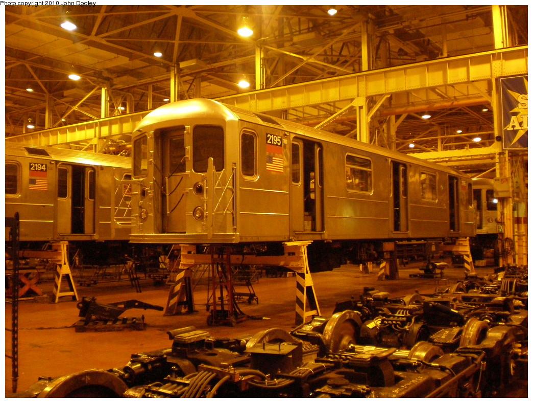 (300k, 1044x788)<br><b>Country:</b> United States<br><b>City:</b> New York<br><b>System:</b> New York City Transit<br><b>Location:</b> Coney Island Shop/Overhaul & Repair Shop<br><b>Car:</b> R-62A (Bombardier, 1984-1987)  2195 <br><b>Photo by:</b> John Dooley<br><b>Date:</b> 3/14/2010<br><b>Viewed (this week/total):</b> 0 / 614