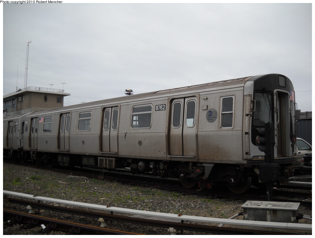 (187k, 1044x788)<br><b>Country:</b> United States<br><b>City:</b> New York<br><b>System:</b> New York City Transit<br><b>Location:</b> Coney Island Yard<br><b>Car:</b> R-160B (Kawasaki, 2005-2008)  8762 <br><b>Photo by:</b> Robert Mencher<br><b>Date:</b> 4/16/2010<br><b>Viewed (this week/total):</b> 0 / 568
