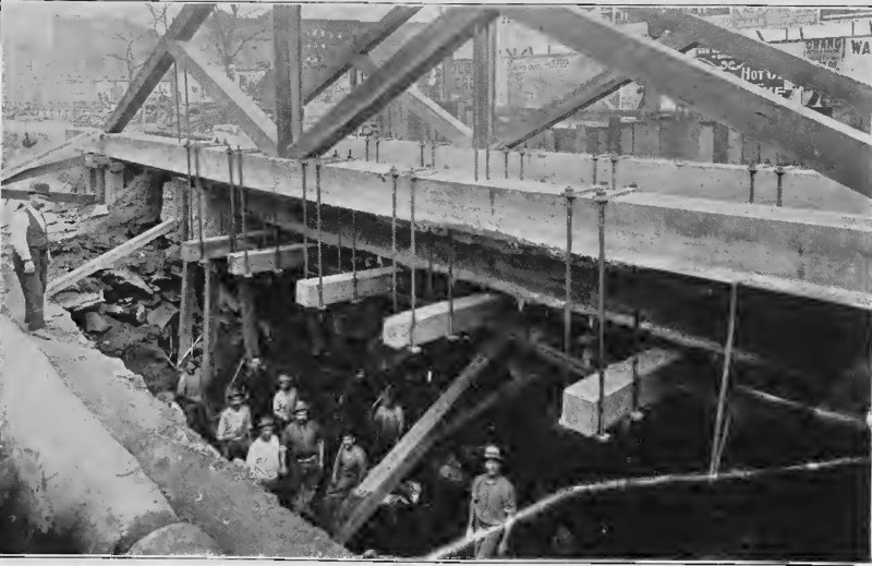 (108k, 800x519)<br><b>Country:</b> United States<br><b>City:</b> New York<br><b>System:</b> New York City Transit<br><b>Line:</b> IRT (Early Views of Construction)<br><b>Collection of:</b> Board of Rapid Transit Railroad Commissioners - File Photo<br><b>Date:</b> 1901<br><b>Notes:</b> Excavation for Subway in progress under Metropolitan Street Railway Tracks (Report of the Board, 1901)<br><b>Viewed (this week/total):</b> 4 / 2019