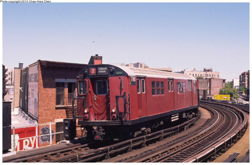 (189k, 1044x686)<br><b>Country:</b> United States<br><b>City:</b> New York<br><b>System:</b> New York City Transit<br><b>Line:</b> IRT White Plains Road Line<br><b>Location:</b> Simpson Street <br><b>Route:</b> 2<br><b>Car:</b> R-26 (American Car & Foundry, 1959-60) 7760 <br><b>Photo by:</b> Chao-Hwa Chen<br><b>Date:</b> 8/9/1999<br><b>Viewed (this week/total):</b> 2 / 1771