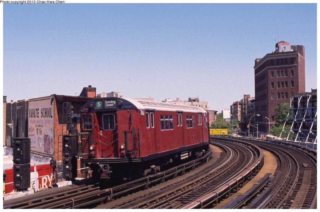 (193k, 1044x692)<br><b>Country:</b> United States<br><b>City:</b> New York<br><b>System:</b> New York City Transit<br><b>Line:</b> IRT White Plains Road Line<br><b>Location:</b> Simpson Street <br><b>Route:</b> 5<br><b>Car:</b> R-26 (American Car & Foundry, 1959-60) 7841 <br><b>Photo by:</b> Chao-Hwa Chen<br><b>Date:</b> 8/9/1999<br><b>Viewed (this week/total):</b> 0 / 1531