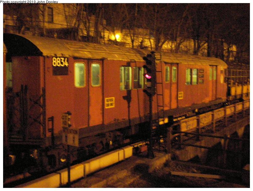 (187k, 820x620)<br><b>Country:</b> United States<br><b>City:</b> New York<br><b>System:</b> New York City Transit<br><b>Line:</b> BMT West End Line<br><b>Location:</b> 9th Avenue <br><b>Route:</b> Work Service<br><b>Car:</b> R-33 Main Line (St. Louis, 1962-63) 8834 <br><b>Photo by:</b> John Dooley<br><b>Date:</b> 3/17/2009<br><b>Viewed (this week/total):</b> 1 / 1325