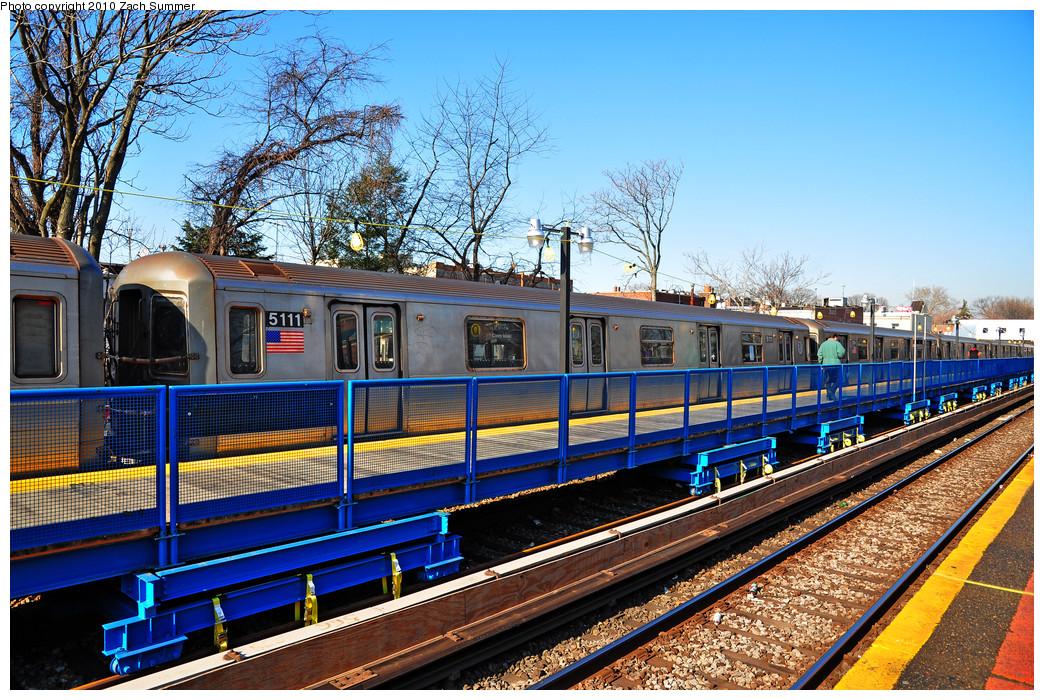 (417k, 1044x700)<br><b>Country:</b> United States<br><b>City:</b> New York<br><b>System:</b> New York City Transit<br><b>Line:</b> BMT Brighton Line<br><b>Location:</b> Avenue J <br><b>Route:</b> Q<br><b>Car:</b> R-68A (Kawasaki, 1988-1989)  5111 <br><b>Photo by:</b> Zach Summer<br><b>Date:</b> 1/14/2010<br><b>Viewed (this week/total):</b> 0 / 1264