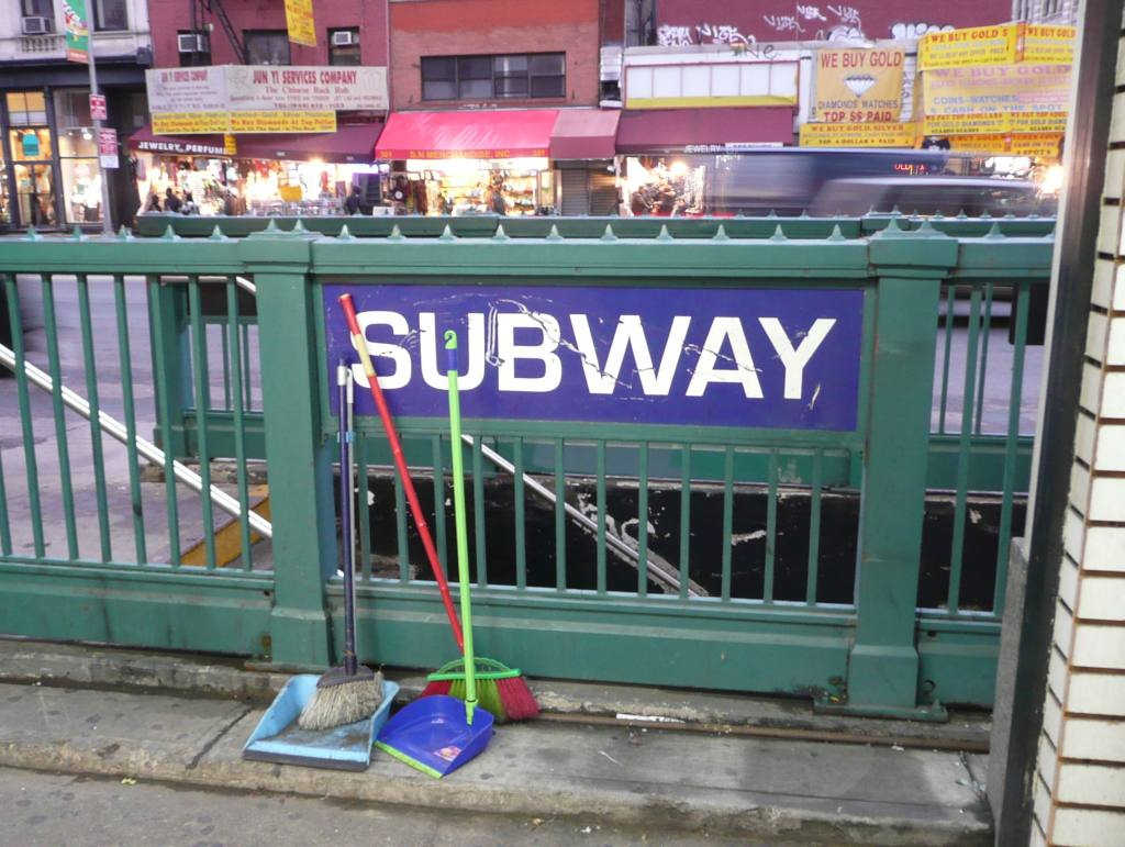 (122k, 1024x771)<br><b>Country:</b> United States<br><b>City:</b> New York<br><b>System:</b> New York City Transit<br><b>Line:</b> IRT East Side Line<br><b>Location:</b> Canal Street <br><b>Photo by:</b> Robbie Rosenfeld<br><b>Date:</b> 2/24/2010<br><b>Notes:</b> Old style sign on subway stairs.<br><b>Viewed (this week/total):</b> 1 / 1597