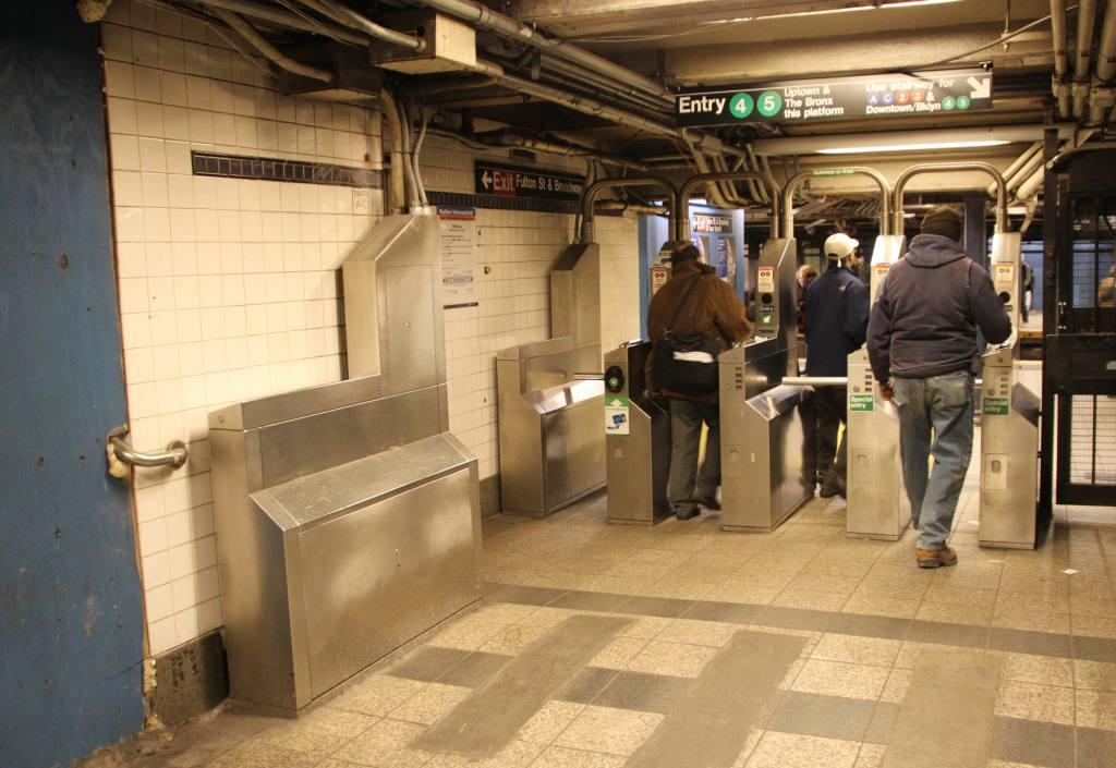 (110k, 1024x705)<br><b>Country:</b> United States<br><b>City:</b> New York<br><b>System:</b> New York City Transit<br><b>Line:</b> IRT East Side Line<br><b>Location:</b> Fulton Street <br><b>Photo by:</b> Robbie Rosenfeld<br><b>Date:</b> 3/8/2010<br><b>Notes:</b> Fulton Transit Center construction - relocated turnstiles.<br><b>Viewed (this week/total):</b> 0 / 2402