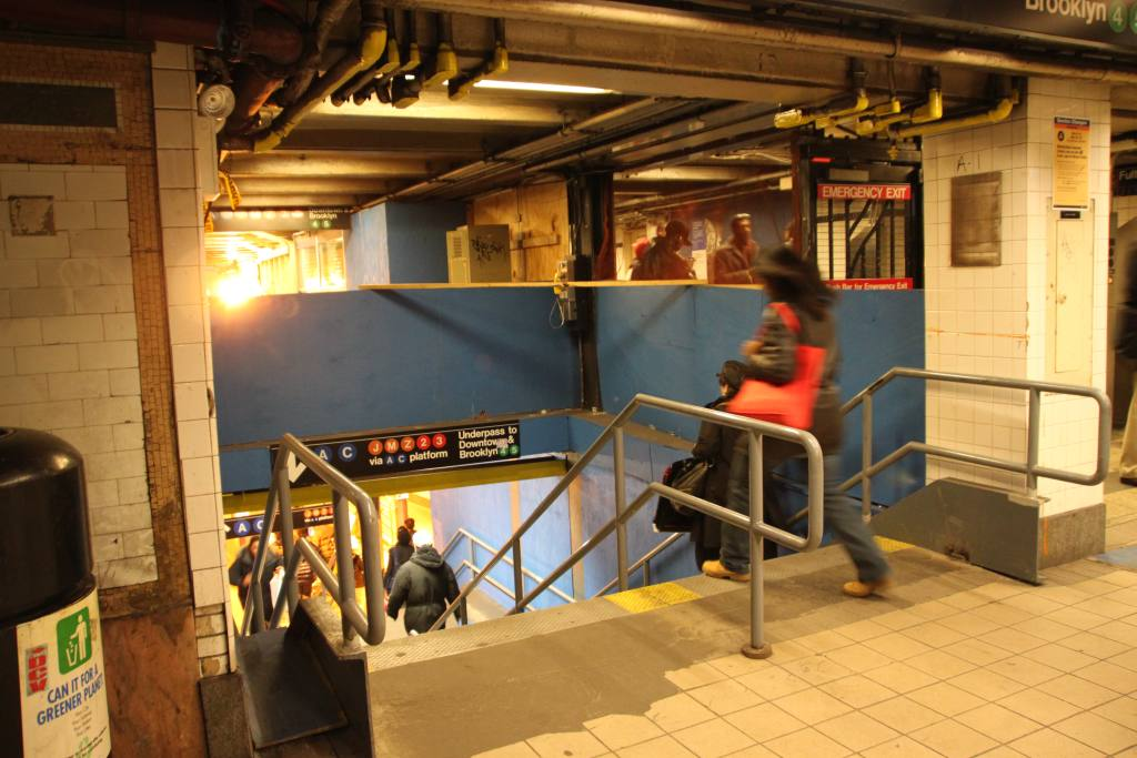(123k, 1024x683)<br><b>Country:</b> United States<br><b>City:</b> New York<br><b>System:</b> New York City Transit<br><b>Line:</b> IRT East Side Line<br><b>Location:</b> Fulton Street <br><b>Photo by:</b> Robbie Rosenfeld<br><b>Date:</b> 3/8/2010<br><b>Notes:</b> Fulton Transit Center construction - temporary stairs.<br><b>Viewed (this week/total):</b> 0 / 2346