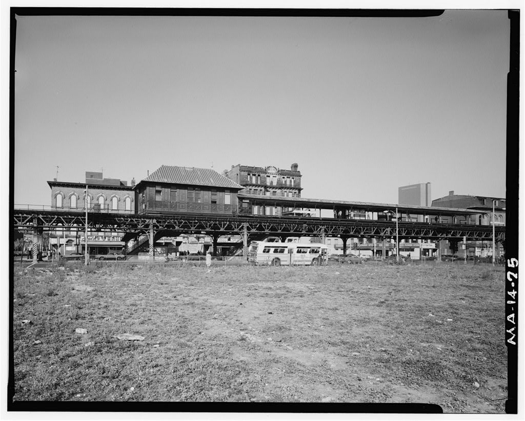 (149k, 1024x821)<br><b>Country:</b> United States<br><b>City:</b> Boston, MA<br><b>System:</b> MBTA<br><b>Line:</b> MBTA Orange Line - Former Elevated<br><b>Location:</b> Northampton (Main Line El)<br><b>Photo by:</b> Richard Cheek/Historic American Engineering Record<br><b>Collection of:</b> Library of Congress, Prints and Photographs Division<br><b>Date:</b> 1982<br><b>Notes:</b> West Elevation of elevated Mainline structure and Northhampton Street station looking Northeast. (MA-14-25)<br><b>Viewed (this week/total):</b> 0 / 1204