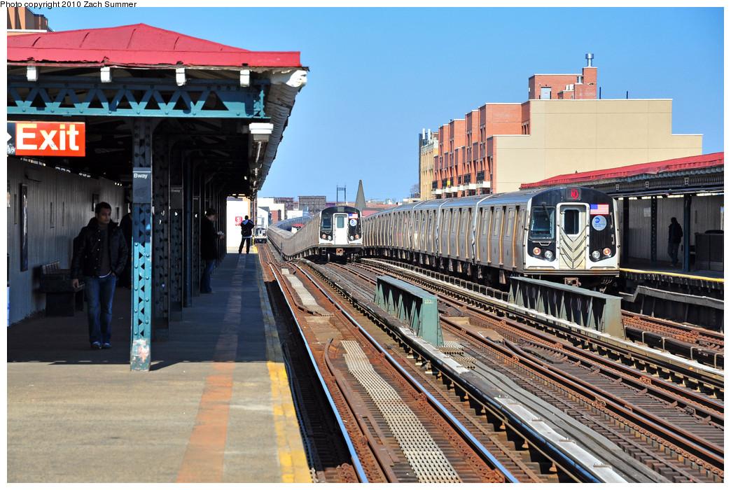 (312k, 1044x700)<br><b>Country:</b> United States<br><b>City:</b> New York<br><b>System:</b> New York City Transit<br><b>Line:</b> BMT Astoria Line<br><b>Location:</b> Broadway <br><b>Route:</b> N<br><b>Car:</b> R-160B (Kawasaki, 2005-2008)  8838 <br><b>Photo by:</b> Zach Summer<br><b>Date:</b> 3/7/2010<br><b>Viewed (this week/total):</b> 1 / 1358