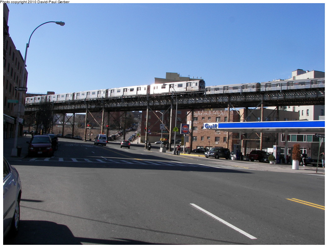 (246k, 1044x788)<br><b>Country:</b> United States<br><b>City:</b> New York<br><b>System:</b> New York City Transit<br><b>Line:</b> IRT White Plains Road Line<br><b>Location:</b> Intervale Avenue <br><b>Route:</b> 2<br><b>Car:</b> R-142 or R-142A (Number Unknown)  <br><b>Photo by:</b> David-Paul Gerber<br><b>Date:</b> 3/7/2010<br><b>Notes:</b> On East 163rd Street facing west, near Intervale Ave<br><b>Viewed (this week/total):</b> 1 / 1892