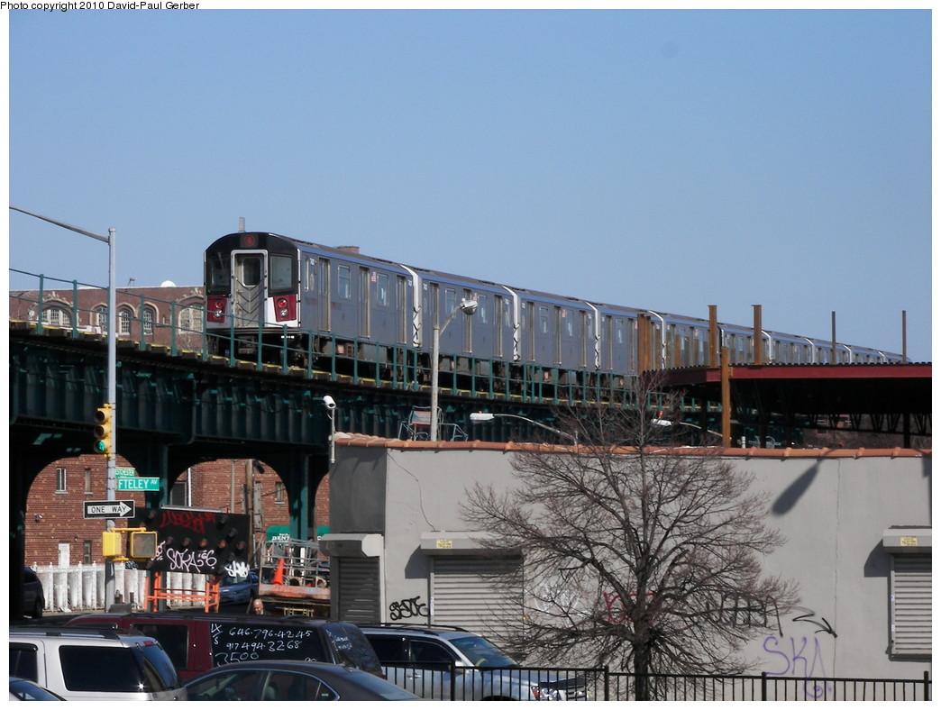 (264k, 1044x788)<br><b>Country:</b> United States<br><b>City:</b> New York<br><b>System:</b> New York City Transit<br><b>Line:</b> IRT Pelham Line<br><b>Location:</b> Morrison/Soundview Aves. <br><b>Route:</b> 6<br><b>Car:</b> R-142A (Primary Order, Kawasaki, 1999-2002)  7431 <br><b>Photo by:</b> David-Paul Gerber<br><b>Date:</b> 3/7/2010<br><b>Notes:</b> On Metcalf Ave near Westchester Ave, facing northeast, Pelham-bound train<br><b>Viewed (this week/total):</b> 2 / 1144