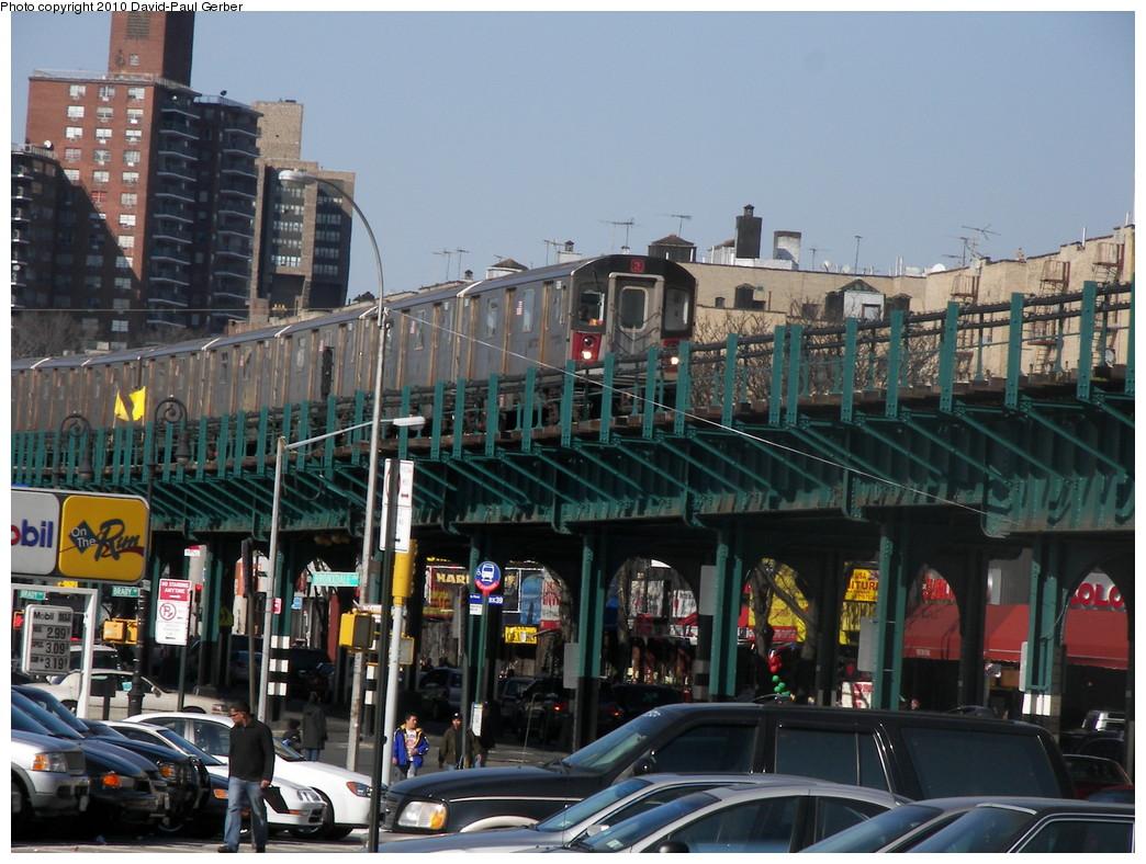 (296k, 1044x788)<br><b>Country:</b> United States<br><b>City:</b> New York<br><b>System:</b> New York City Transit<br><b>Line:</b> IRT White Plains Road Line<br><b>Location:</b> Bronx Park East <br><b>Route:</b> 2<br><b>Car:</b> R-142 or R-142A (Number Unknown)  <br><b>Photo by:</b> David-Paul Gerber<br><b>Date:</b> 3/7/2010<br><b>Notes:</b> On Bronx Park East at Unionport Road, Manhattan-bound 2 train<br><b>Viewed (this week/total):</b> 1 / 1861