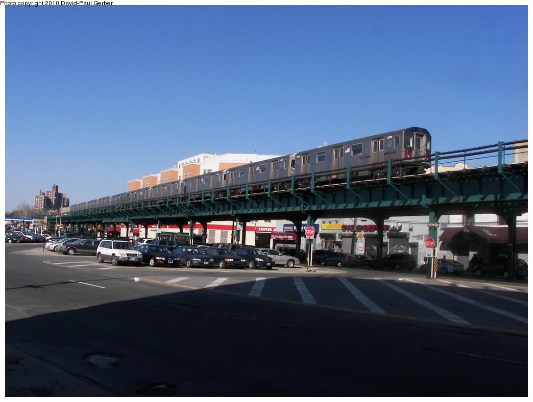 (221k, 1044x788)<br><b>Country:</b> United States<br><b>City:</b> New York<br><b>System:</b> New York City Transit<br><b>Line:</b> IRT White Plains Road Line<br><b>Location:</b> Bronx Park East <br><b>Route:</b> 2<br><b>Car:</b> R-142 (Primary Order, Bombardier, 1999-2002)  6386 <br><b>Photo by:</b> David-Paul Gerber<br><b>Date:</b> 3/7/2010<br><b>Notes:</b> On Bronx Park East at Unionport Road, Manhattan-bound 2 train<br><b>Viewed (this week/total):</b> 1 / 1809